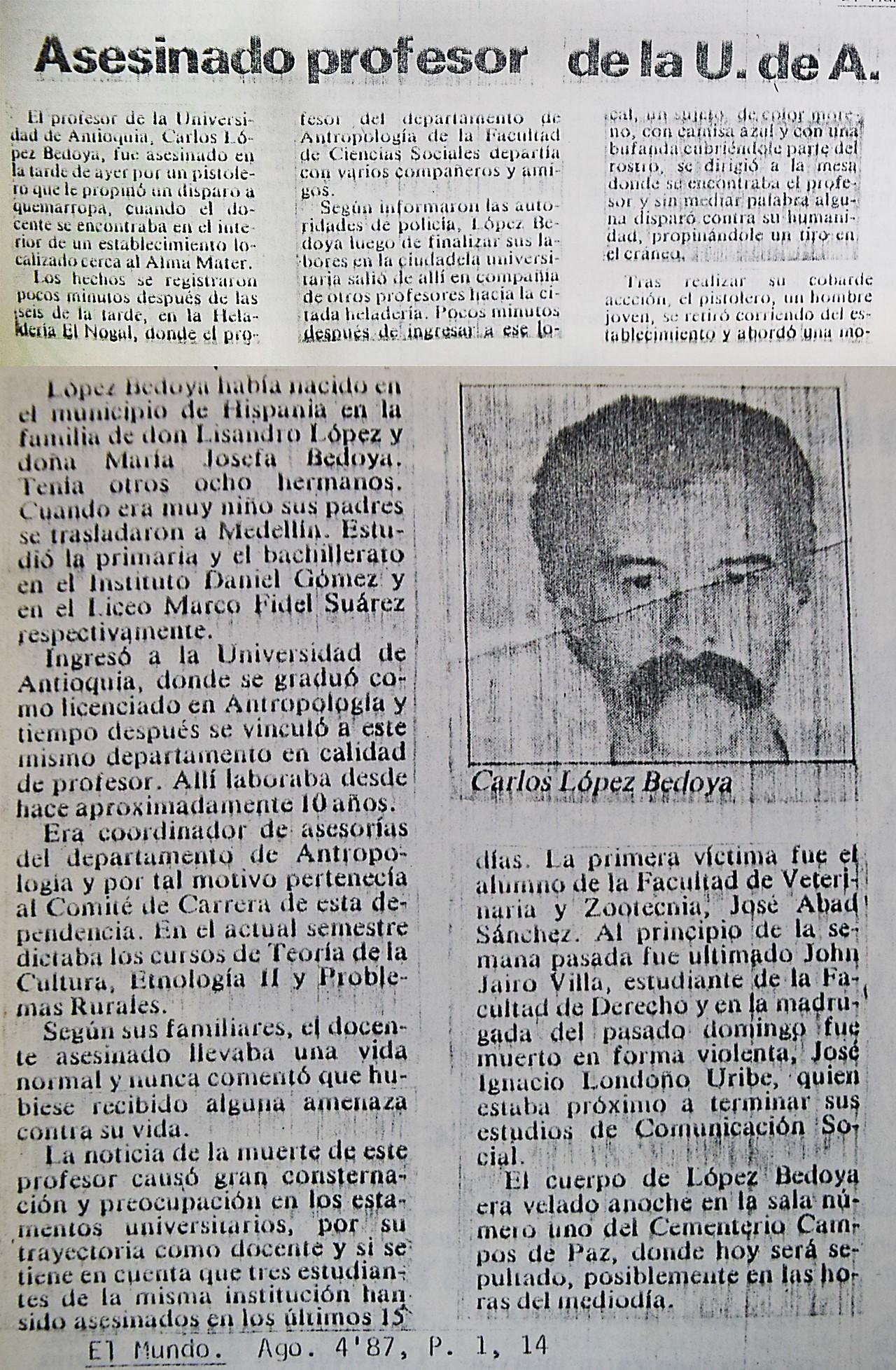 Imágenes vía El Colombiano y Archivo de Prensa de la Secretaría General de la Universidad de Antioquia
