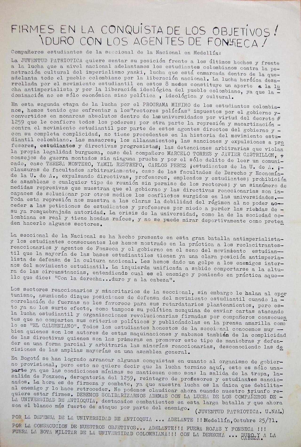 Imágenes vía El Colombiano y Archivo de la Oficina Estudiantil de la Universidad Nacional sede Medellín