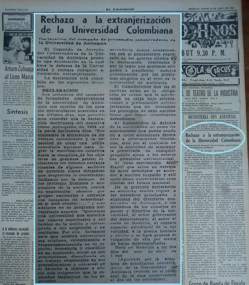 Fotografía tomada de la edición del 10 abril de 1969 del periódico El Colombiano.