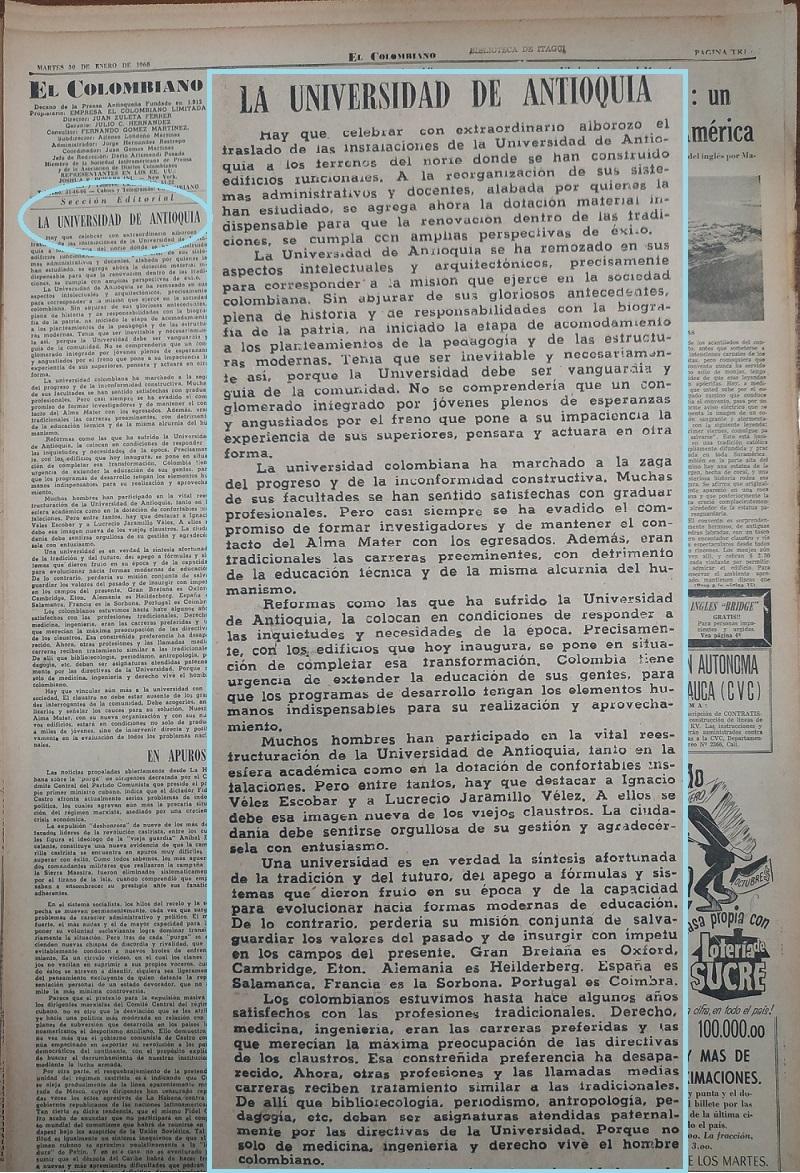 Fotografía tomada de la edición del 30 de enero de 1968 del periódico El Colombiano.