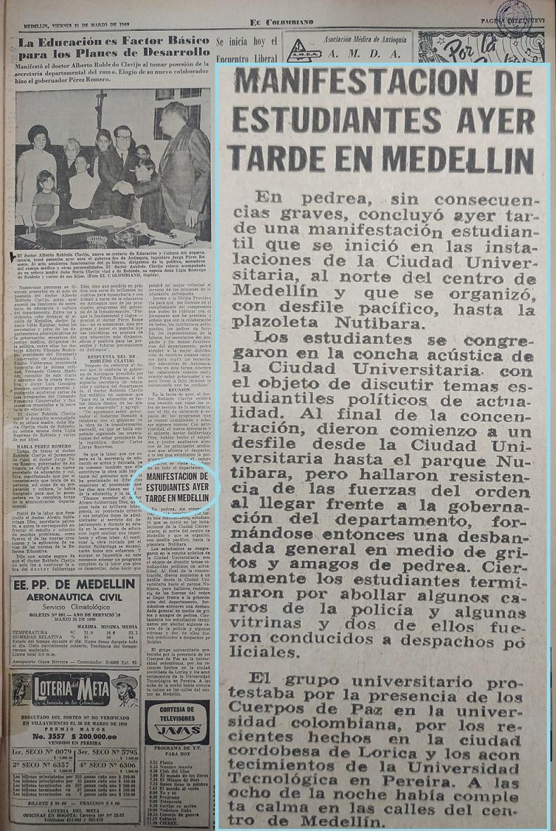 Fotografía tomada de la edición del 21 de marzo de 1969 del periódico El Colombiano.
