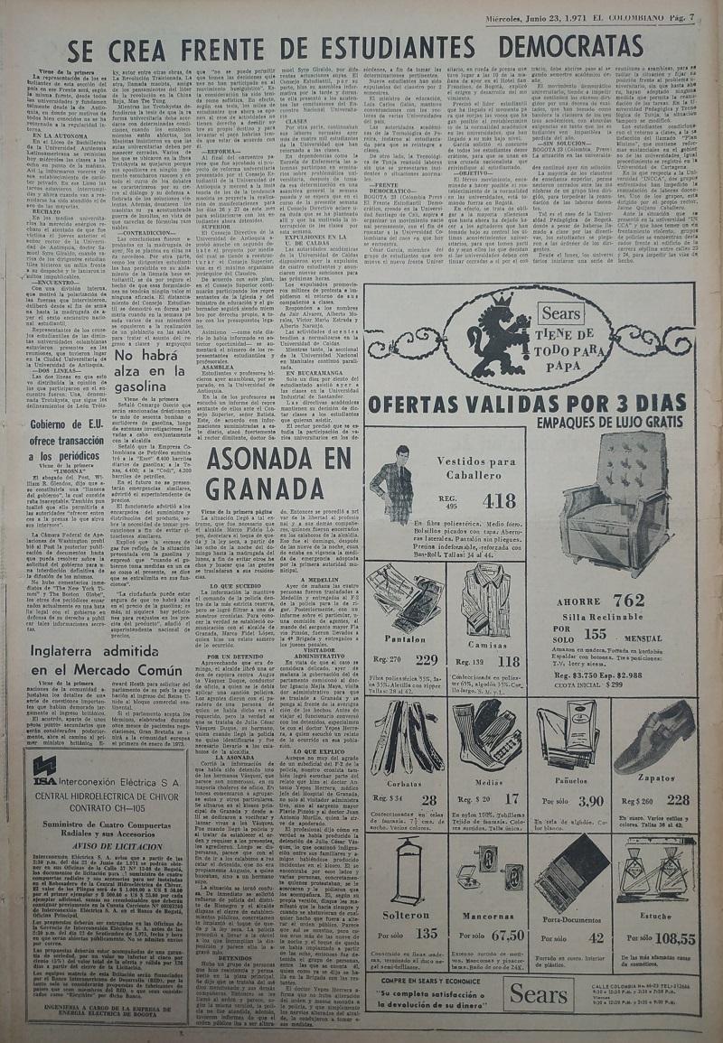 Fotografía tomada de la edición del 23 de junio de 1971 del periódico El Colombiano.