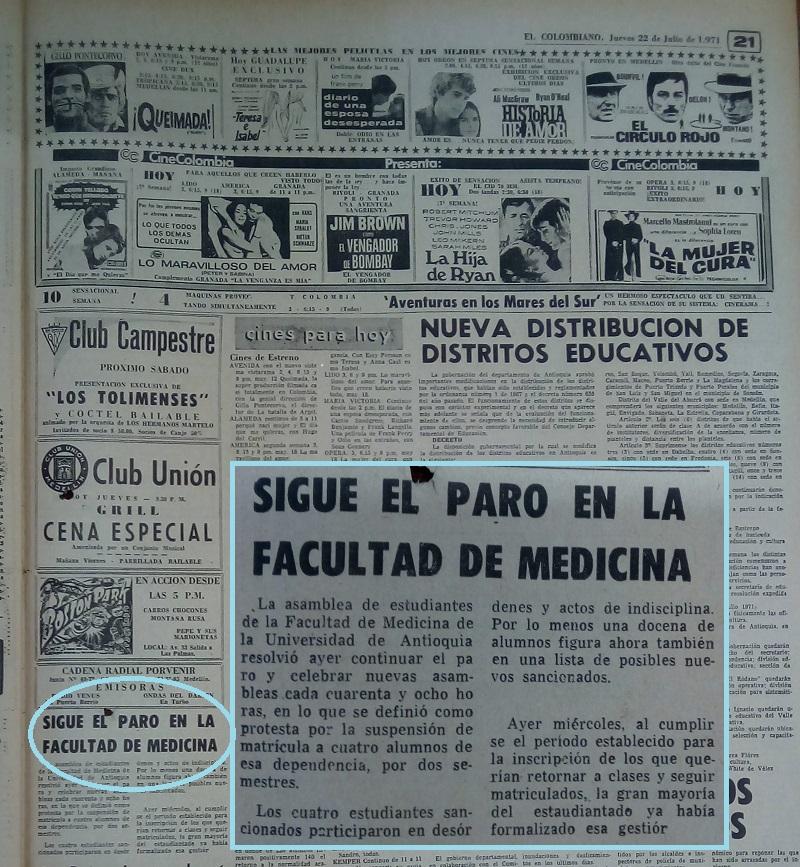 Fotografía tomada de la edición del 22 de julio de 1971 del periódico El Colombiano.