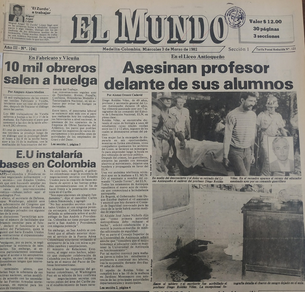 Fotografía tomada de la edición del 3 de marzo de 1982 del periódico El Mundo.