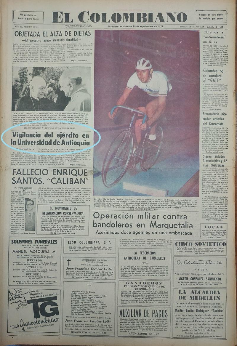 Fotografía tomada de la edición de 29 de septiembre de 1971 del periódico El Colombiano.