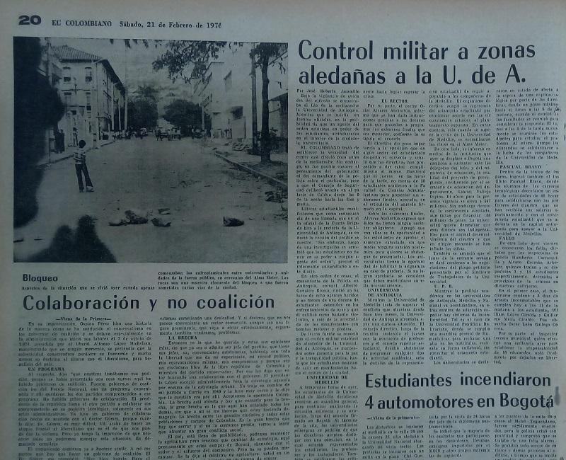 Fotografías tomadas de la edición del 21 de febrero de 1976 del periódico El Colombiano