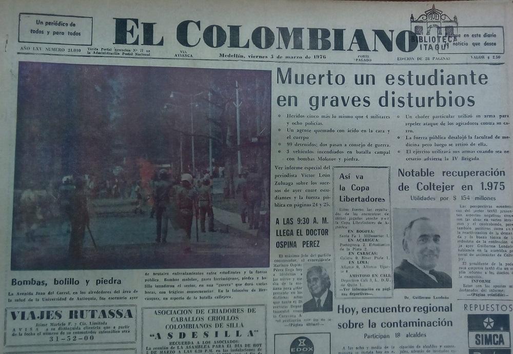 Fotografía tomada de la edición del 5 de marzo de 1976 del periódico El Colombiano.
