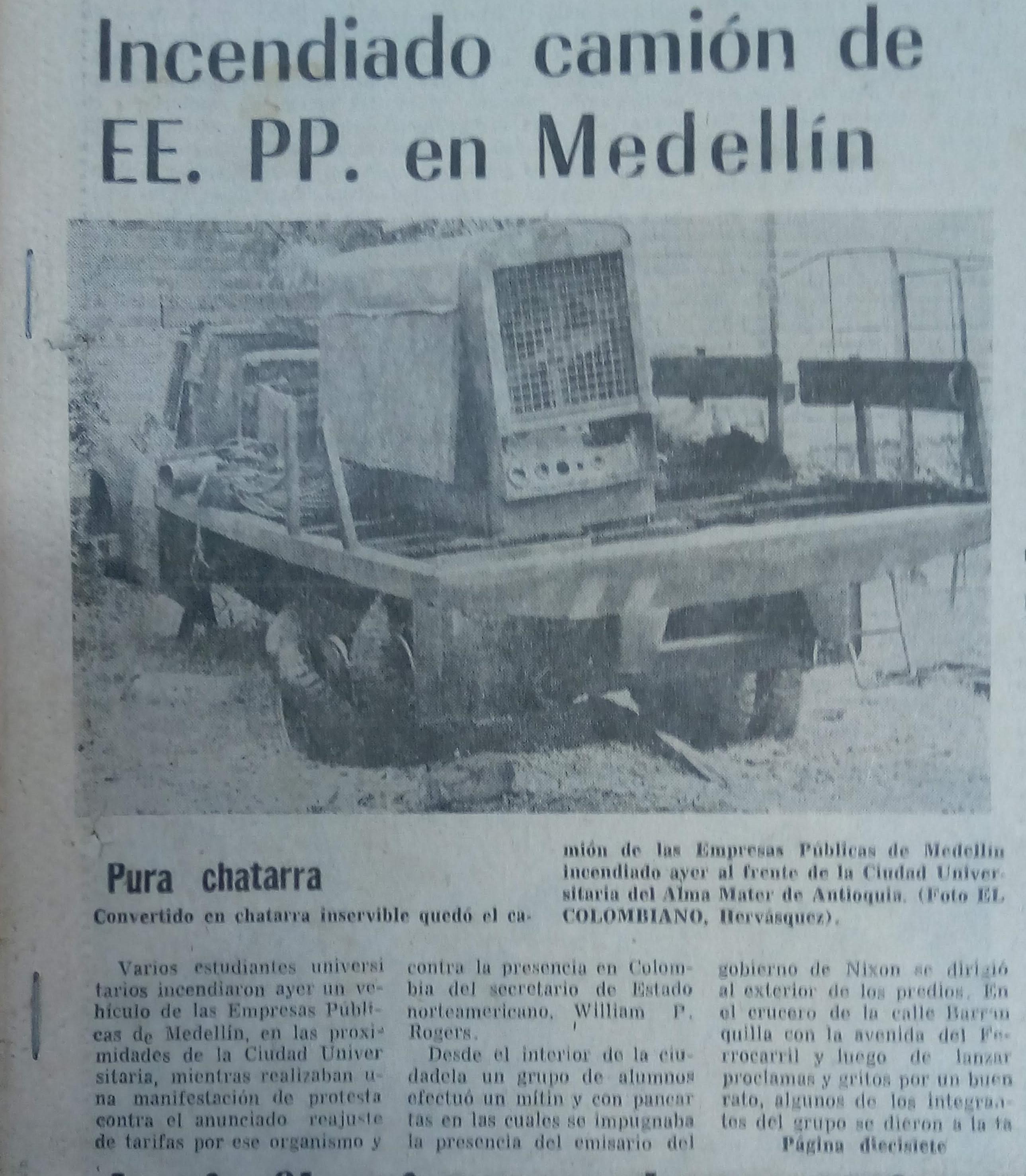 Fotografía tomada de la edición del 18 de mayo de 1973 del periódico El Colombiano.