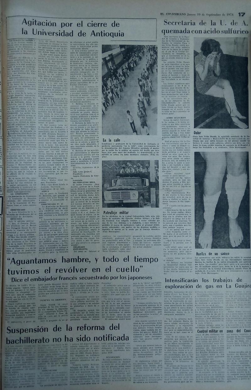 Fotografía tomada de la edición del 19 de septiembre de 1974 del periódico El Colombiano.