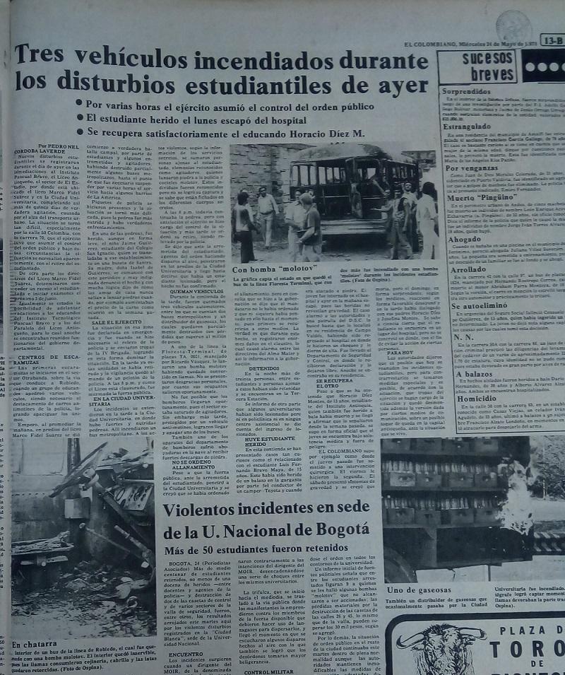 Fotografía tomada de la edición del 26 de mayo de 1978 del periódico El Colombiano.