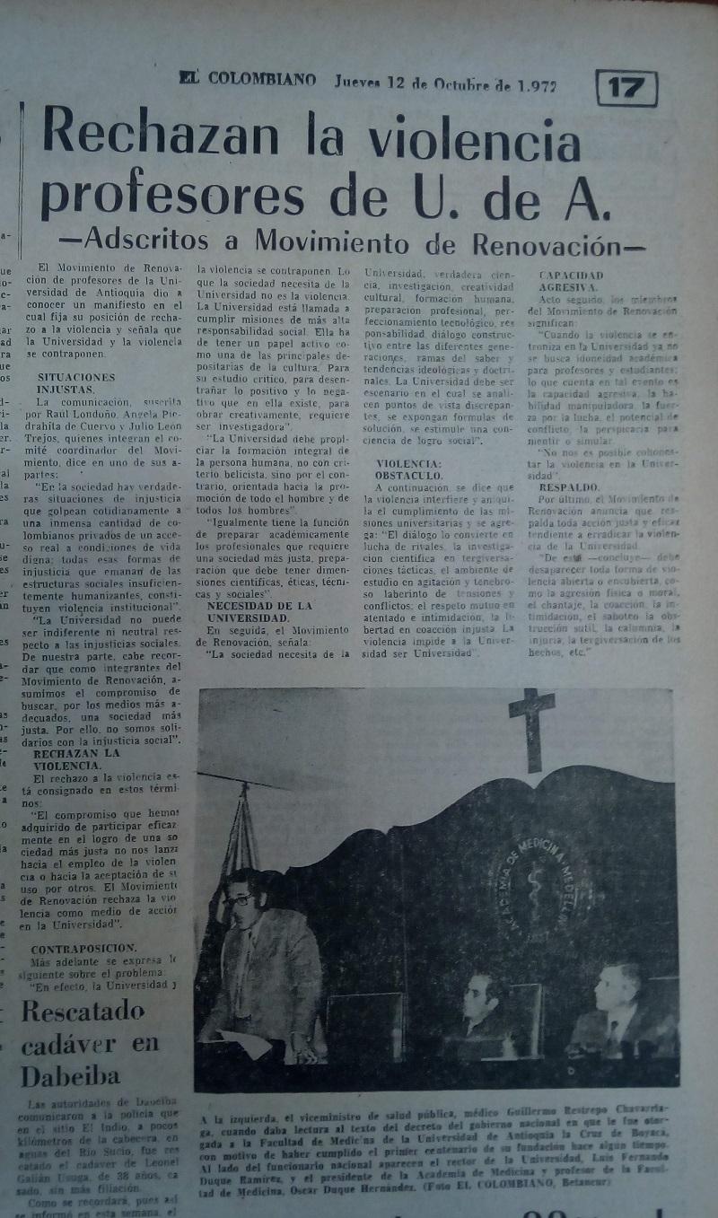Fotografía tomada de la edición del 12 de octubre de 1972 del periódico El Colombiano.