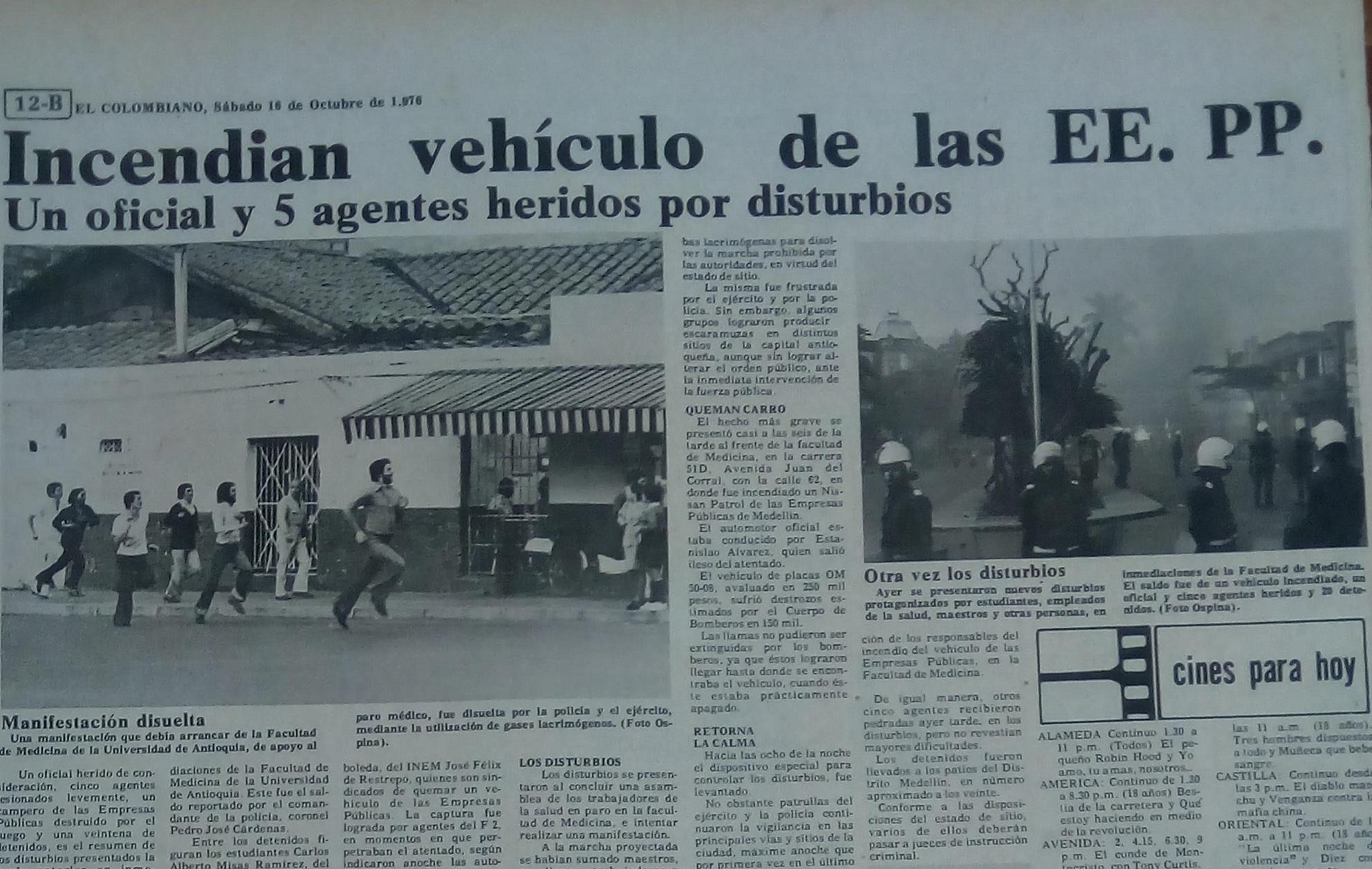 Fotografía tomada de la edición del 9 de octubre de 1976 del periódico El Colombiano.