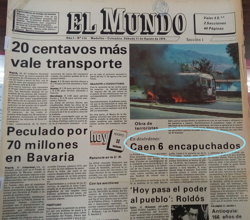 Fotografía tomada de la edición del 11 de agosto de 1979 del periódico El Mundo.