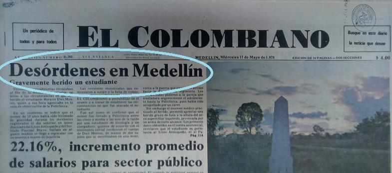 Fotografía tomada de la edición del 17 de mayo de 1978 del periódico El Colombiano.