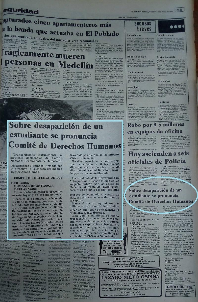 Fotografías tomadas de la edición del 16 de julio de 1982 del periódico El Colombiano