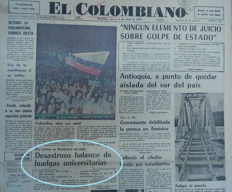 Fotografía tomada de la edición del 8 de abril de 1976 del periódico El Colombiano.
