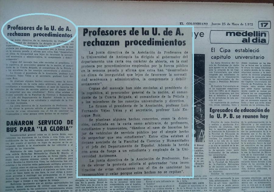 Fotografía tomada de la edición del 25 de mayo de 1972 del periódico El Colombiano.