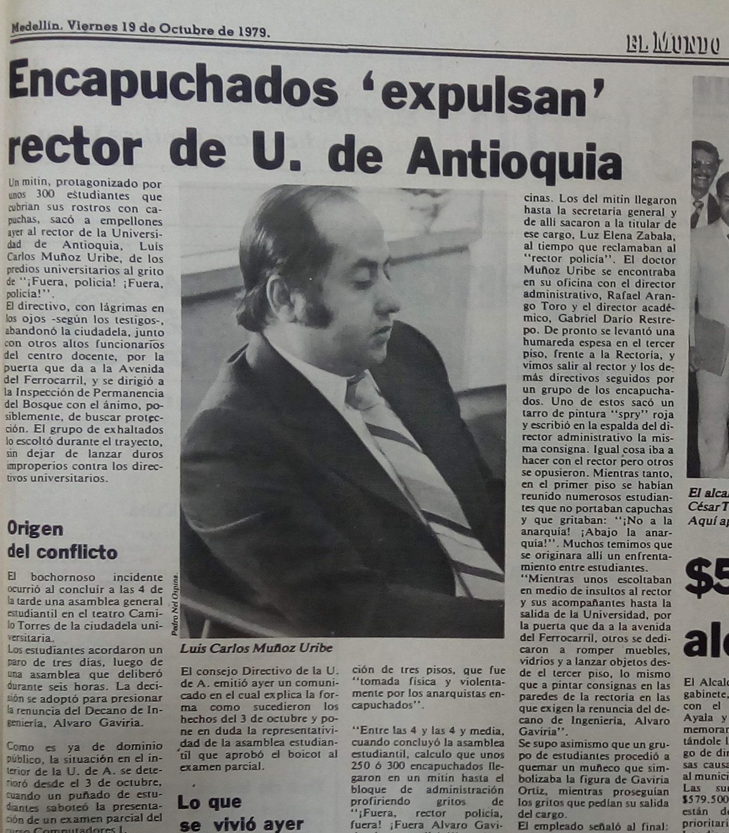 Fotografía tomada de la edición del 19 de octubre de 1979 del periódico El Mundo.
