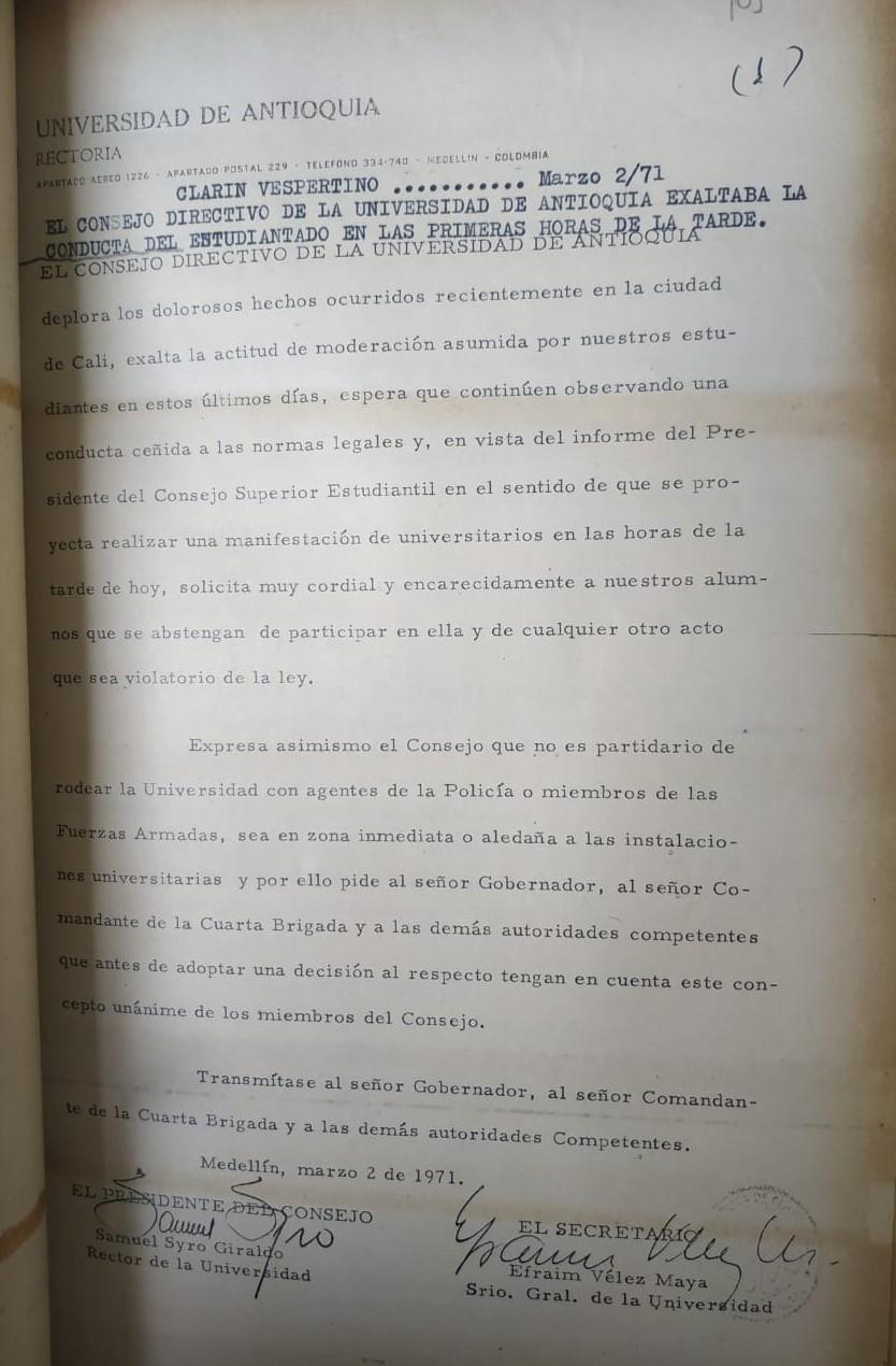 Tomado del guión del Radioperiódico El Clarín para el 2 de marzo de 1971. Consultado en el Archivo Histórico de Medellín.