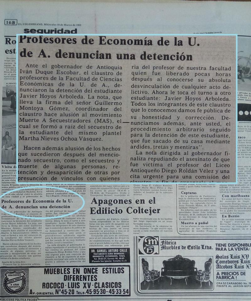 Fotografía tomada de la edición del 10 de marzo de 1982 del periódico El Colombiano.