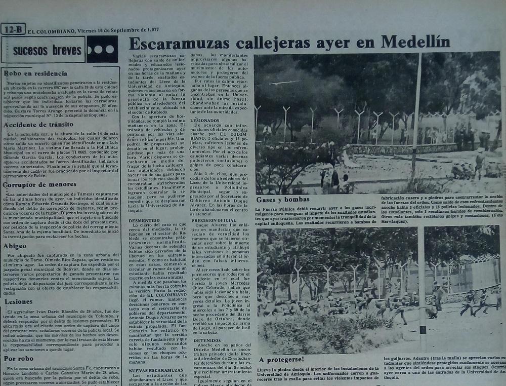 Fotografía tomada de la edición del 16 de septiembre de 1977 del periódico El Colombiano.