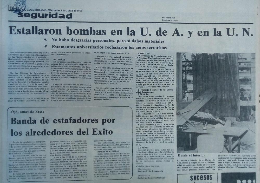 Fotografía tomada de la edición del 4 de junio de 1980 del periódico El Colombiano.