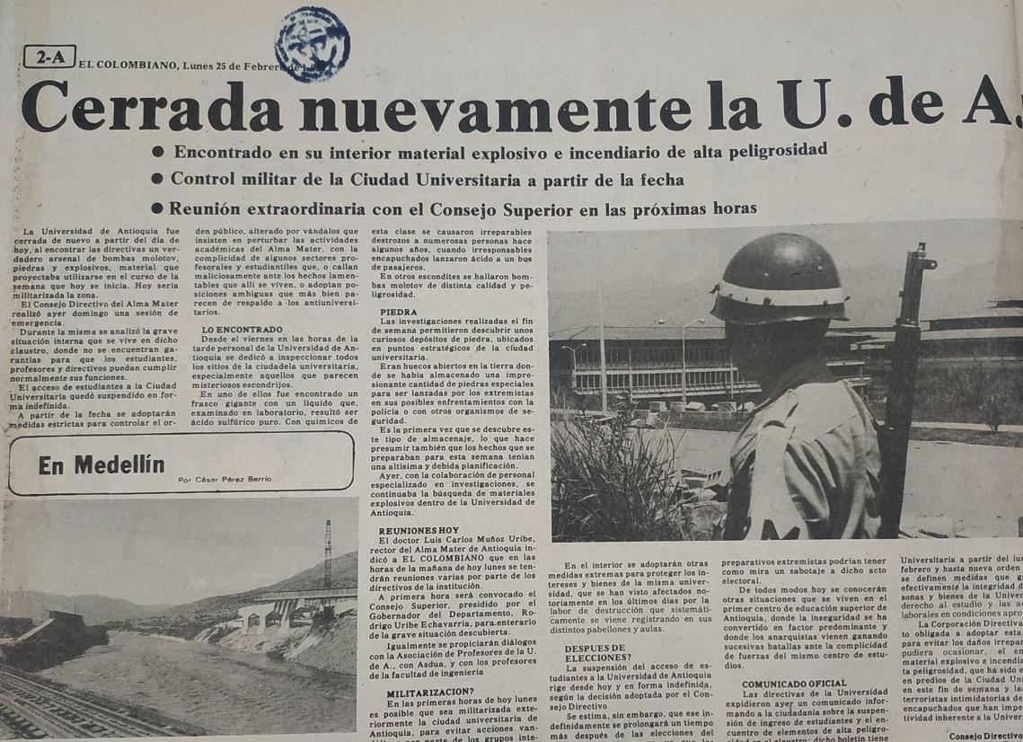 Fotografía tomada de la edición del 25 de febrero de 1980 del periódico El Colombiano.