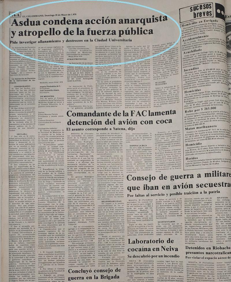 Fotografía tomada de la edición del 28 de mayo de 1978 del periódico El Colombiano.