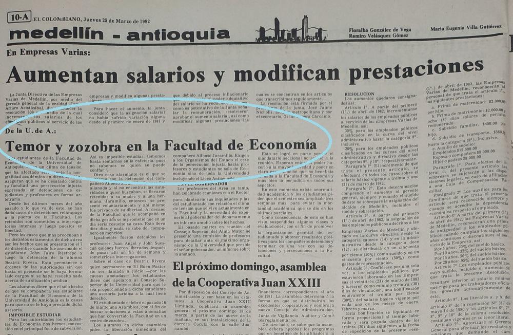 Fotografía tomada de la edición del 25 de marzo de 1982 del periódico El Colombiano.