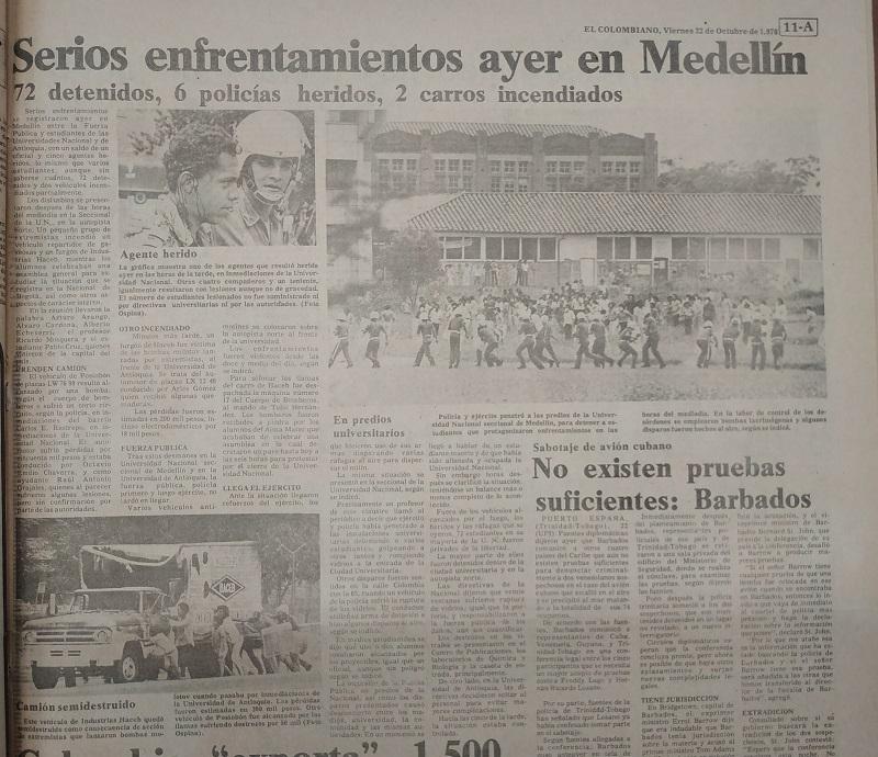 Fotografía tomada de la edición del 22 de octubre de 1976 del periódico El Colombiano.
