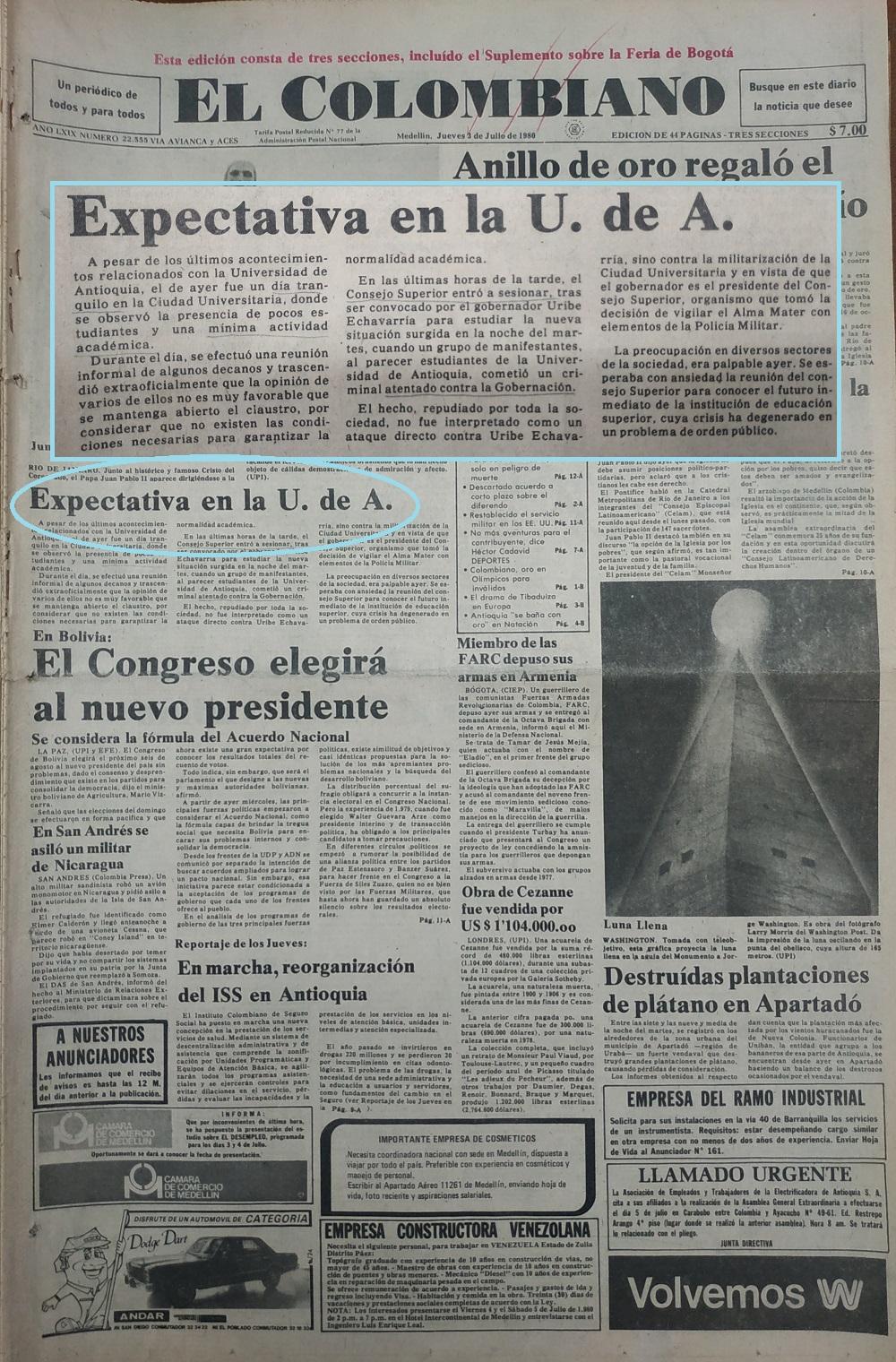Fotografía tomada de la edición del 3 de julio de 1980 del periódico El Colombiano.