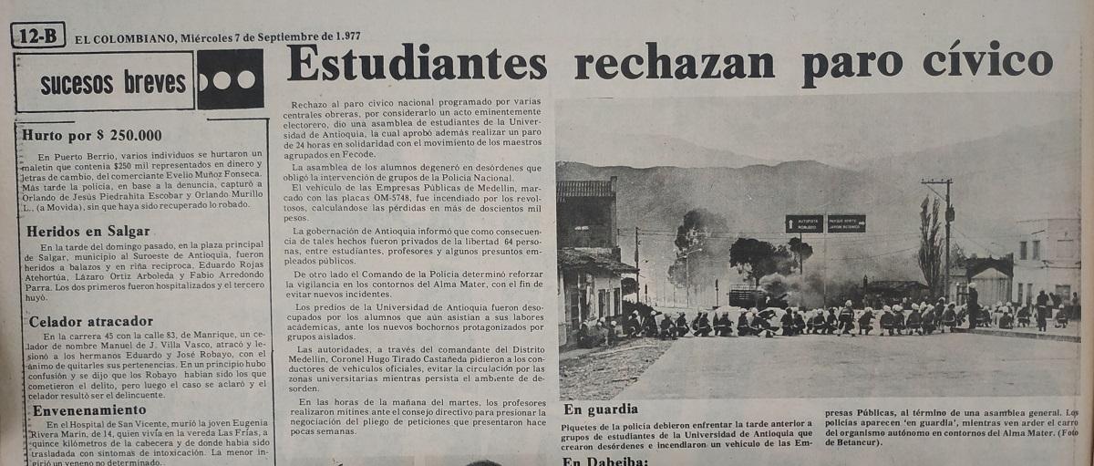 Fotografía tomada de la edición del 7 de septiembre de 1977 del periódico El Colombiano.