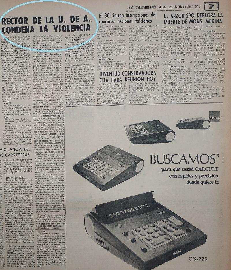 Fotografías tomadas de la edición del 23 de mayo de 1972 del periódico El Colombiano.