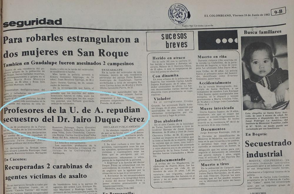 Fotografía tomada de la edición del 18 de junio de 1982 del periódico El Colombiano