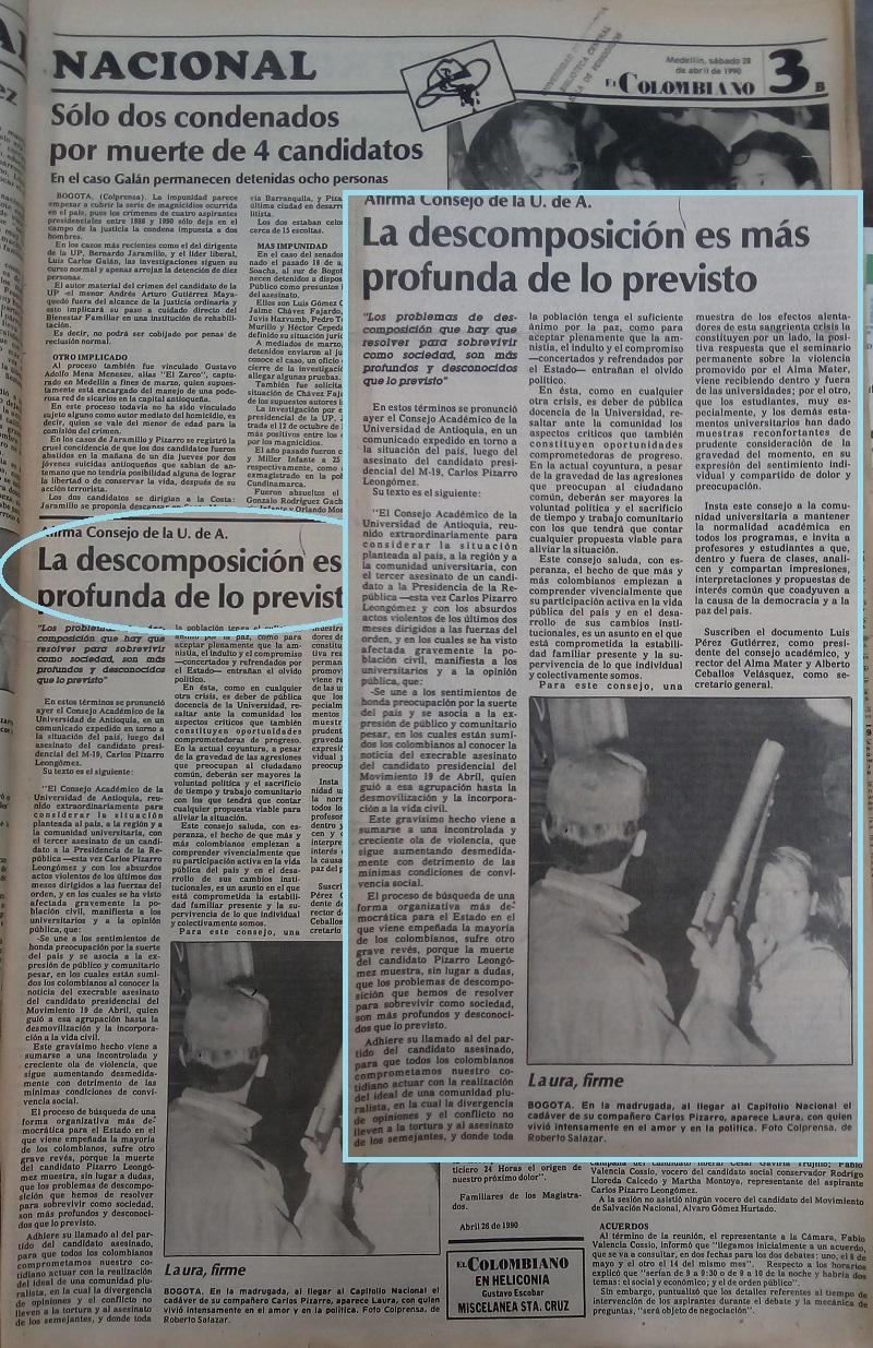 Fotografías tomadas de la edición del 28 de abril de 1990 del periódico El Colombiano