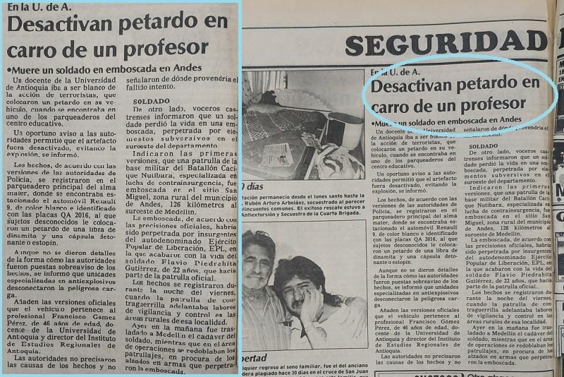 Fotografías tomadas de la edición del 29 de abril de 1990 del periódico El Colombiano