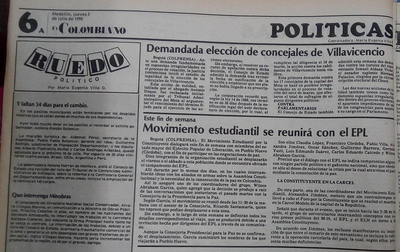 Fotografías tomadas de la edición del 5 de julio de 1990 del periódico El Colombiano