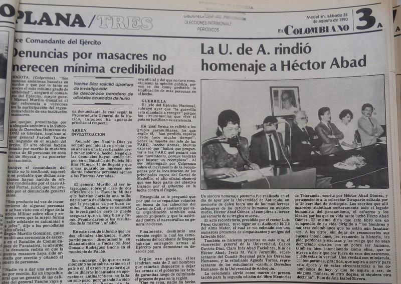 Fotografías tomadas de la edición del 25 de agosto de 1990 del periódico El Colombiano