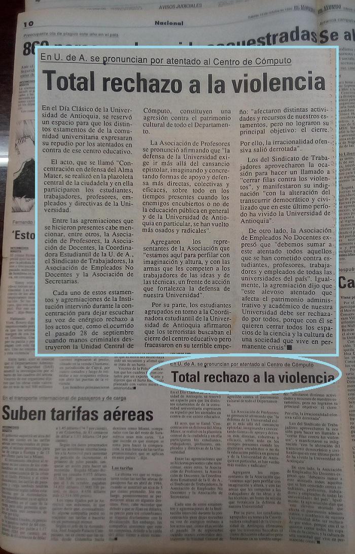 Fotografías tomadas de la edición del 14 de octubre 1990 del periódico El Mundo y del periódico El Colombiano