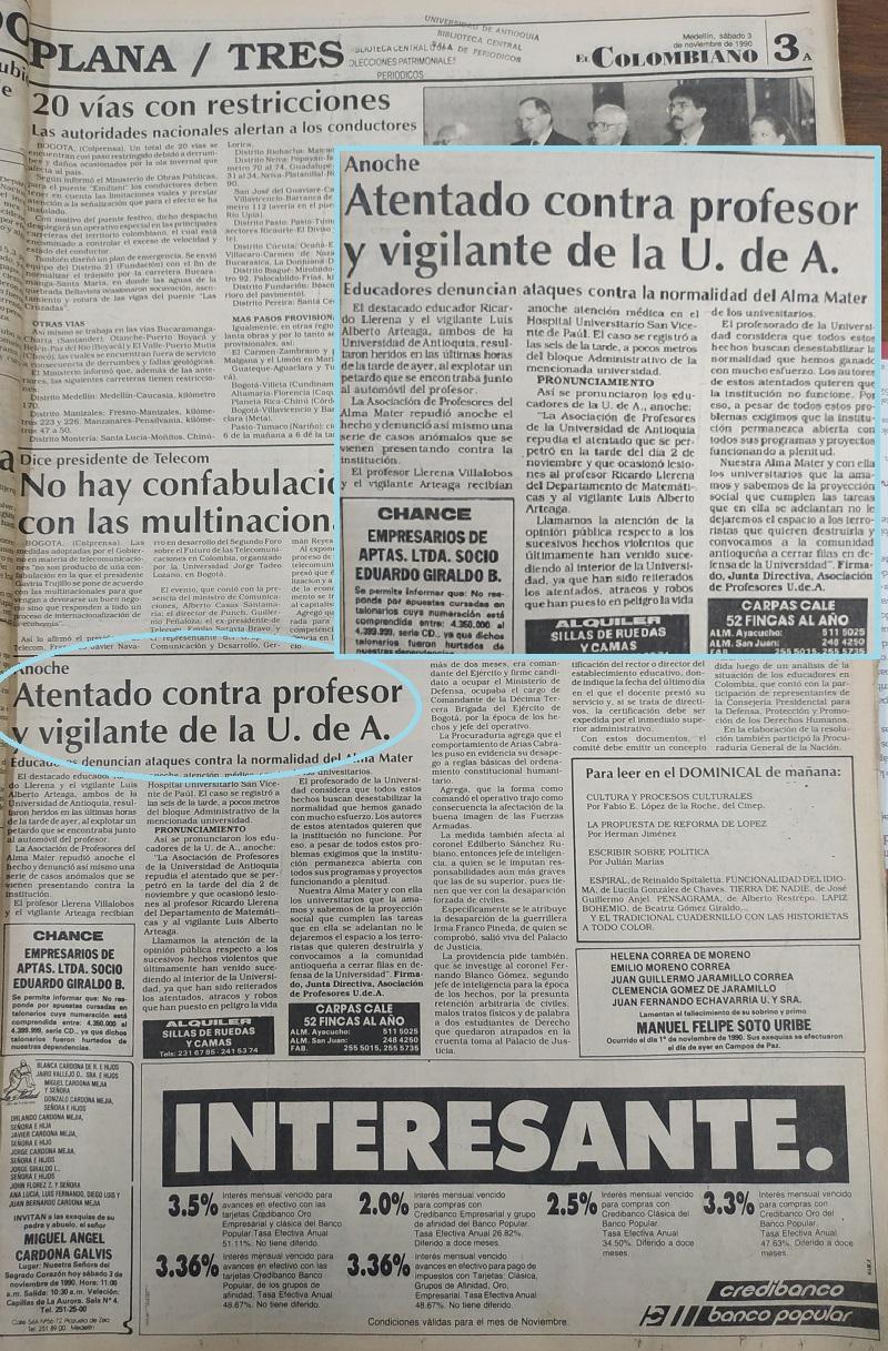 Fotografías tomadas de la edición del 3 de noviembre 1990 del periódico El Colombiano