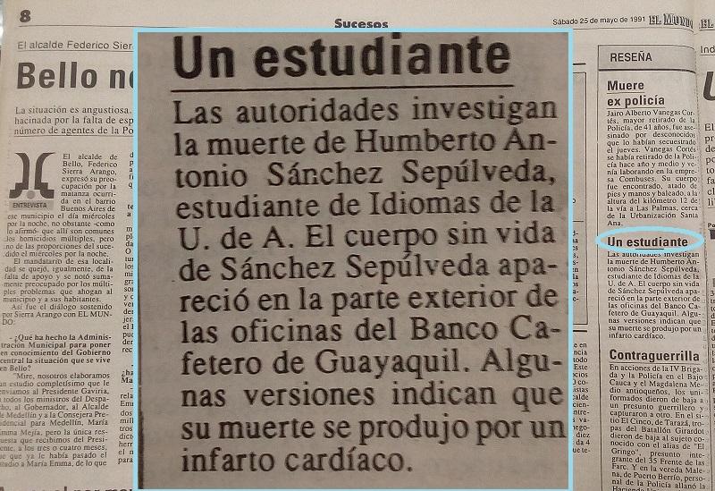 Fotografías tomadas de la edición del 17 de noviembre 1990 del periódico El Mundo y del 1 de junio de 1991 del periódico El Colombiano.