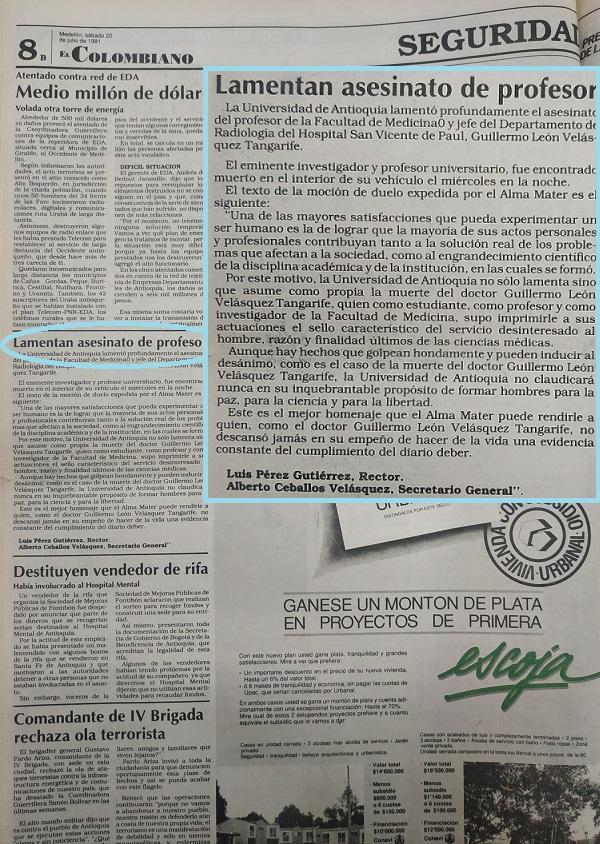 Fotografías tomadas de la edición del 20 de julio de 1991 del periódico El Colombiano.