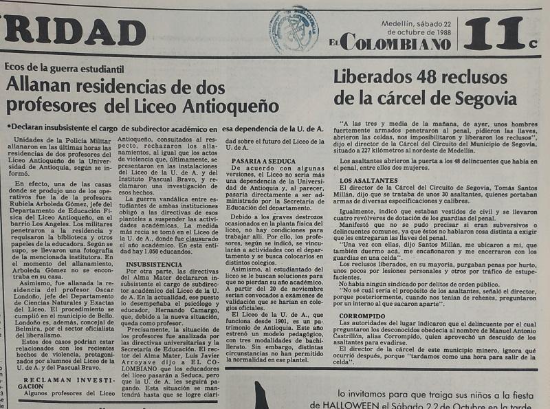 Fotografías tomadas de la edición del 22 de octubre de 1988 del periódico El Colombiano
