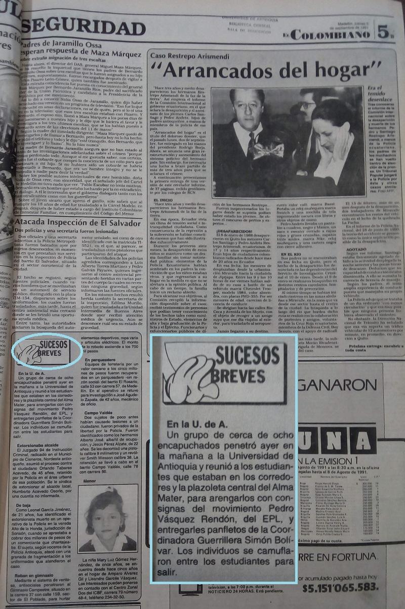 Fotografías tomadas de la edición del 5 de septiembre 1991 del periódico El Colombiano.