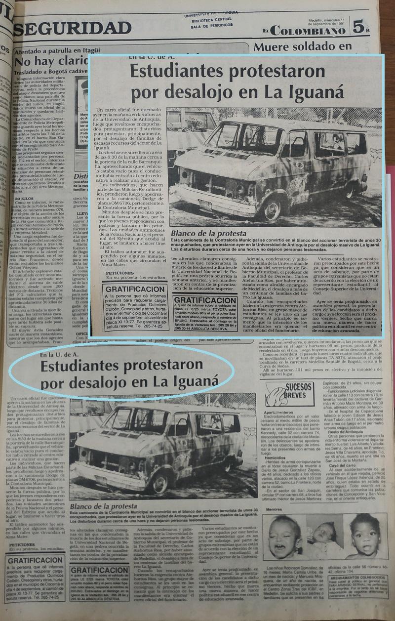 Fotografías tomadas de la edición del 11 de septiembre 1991 del periódico El Colombiano.