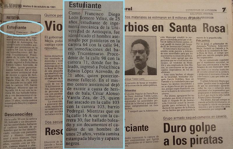 Fotografías tomadas de la edición del 8 de octubre 1991 del periódico El Mundo y del periódico El Colombiano.