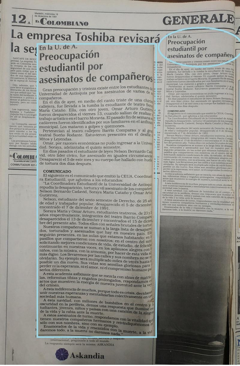 Fotografías tomadas de la edición del 18 de diciembre 1991 del periódico El Colombiano.