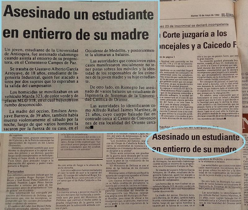 Fotografías tomadas de la edición del 19 de mayo de 1992 del periódico El Mundo y del periódico El Colombiano.