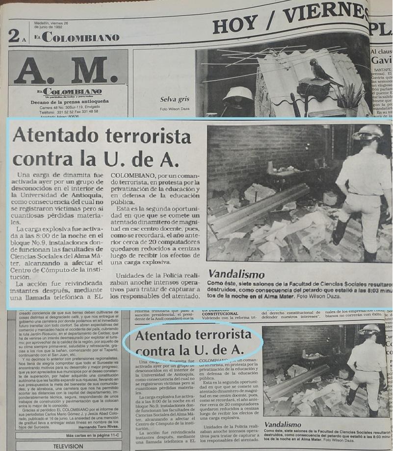 Fotografías tomadas de la edición del 26 de junio de 1992 del periódico El Colombiano.