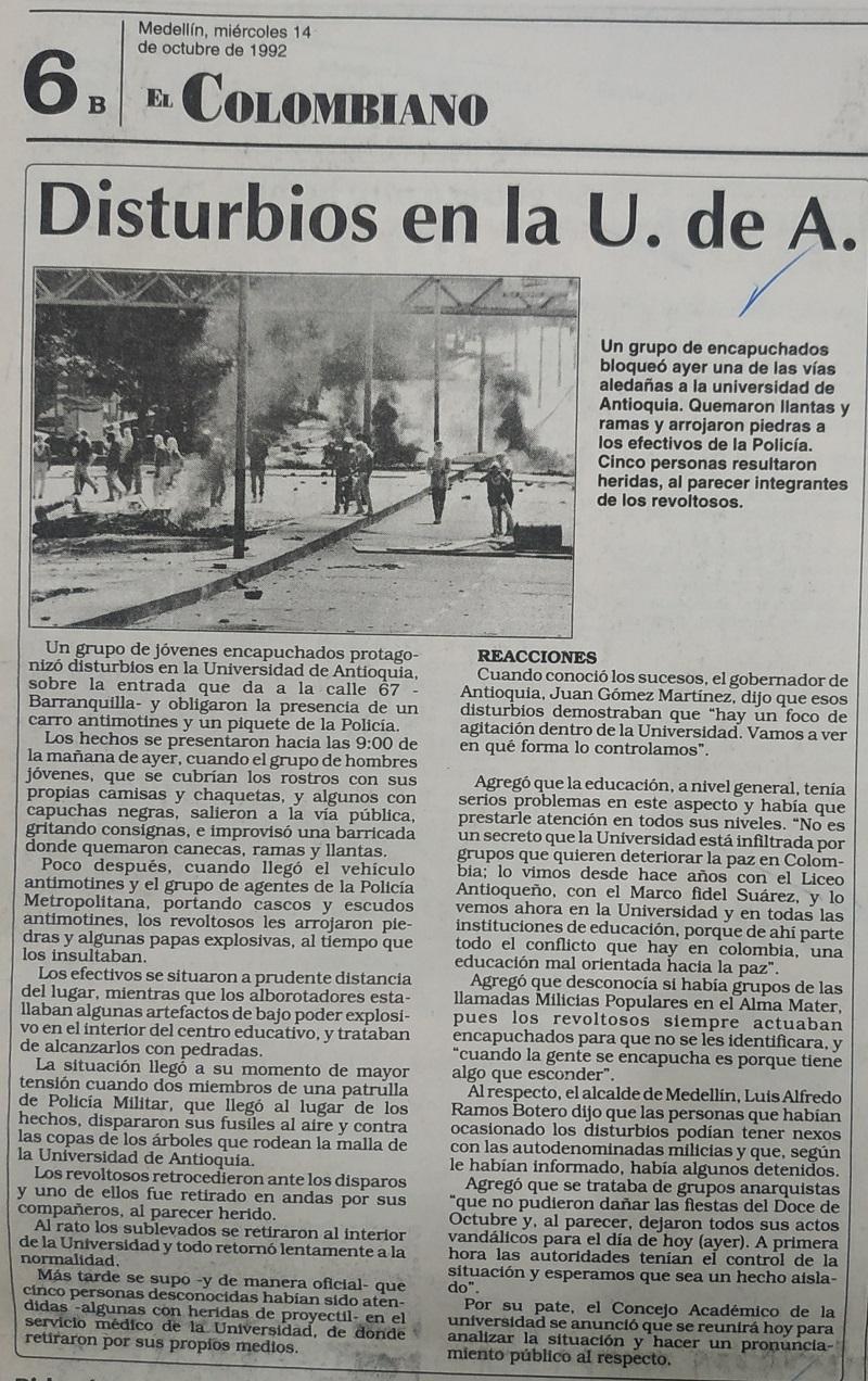Fotografías tomadas de la edición del 14 de octubre de 1992 del periódico El Colombiano.
